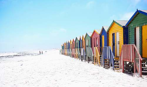 outdoors assorted-color beach houses hut
