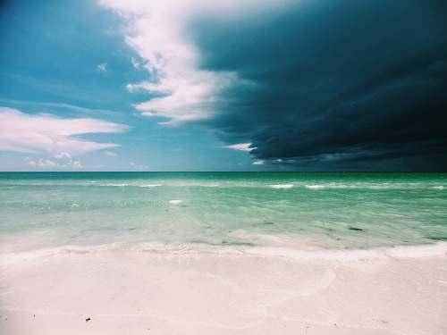 ocean clear white sand beach under cloudy sky coast