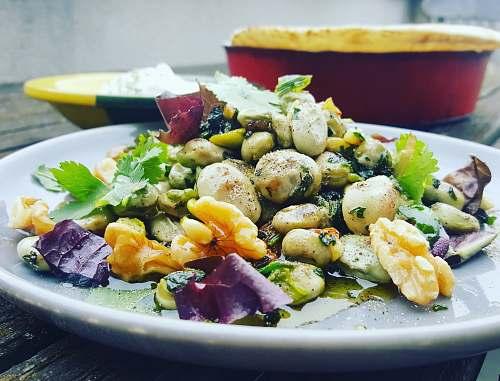 plate vegetable salad on white ceramic plate salad