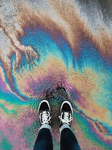 footwear person standing on oil spilled surface shoe