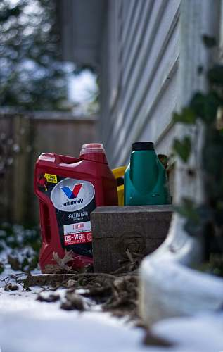 bottle red plastic container oil change
