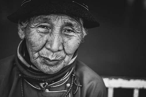 face grayscale portrait of person person