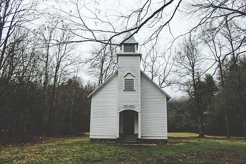 church photo of white wooden chapel surrounded by trees during daytime architecture