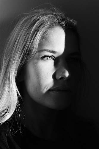 photo black-and-white portrait photograph of woman face free for commercial use images