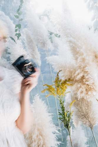 photo human woman wearing white dress holding black camera plant free for commercial use images