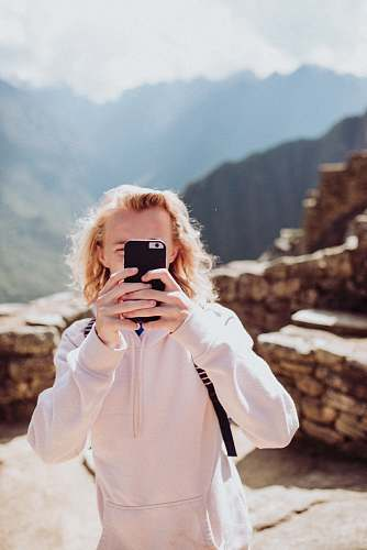 photo face woman wearing white sweater taking selfie human free for commercial use images