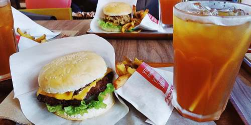 photo burger berger and fries set alcohol free for commercial use images