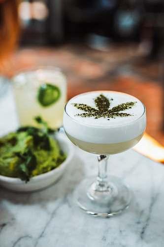 drink wine glass with cannabis leaf decor cannabis