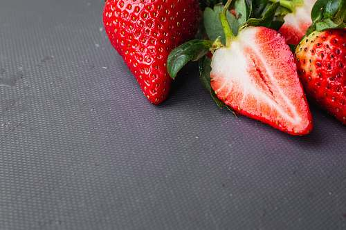 fruit red strawberry on blue textile plant