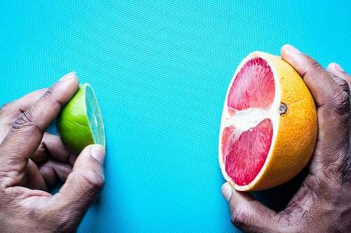fruit sliced lemon on blue textile citrus fruit