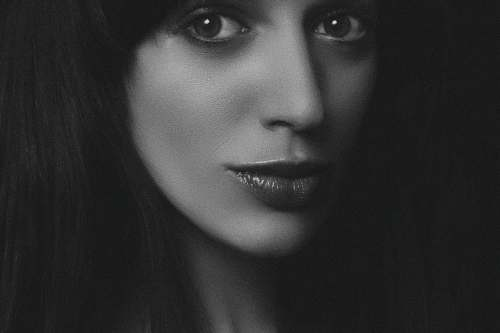 face grayscale photography of woman human