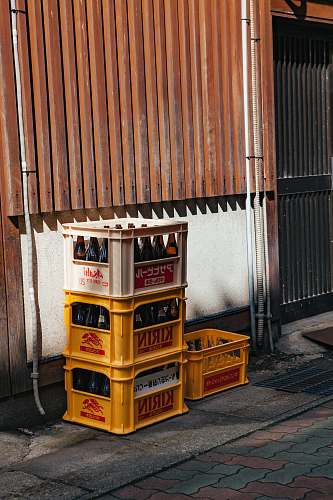 crate four plastic bottle crates brown