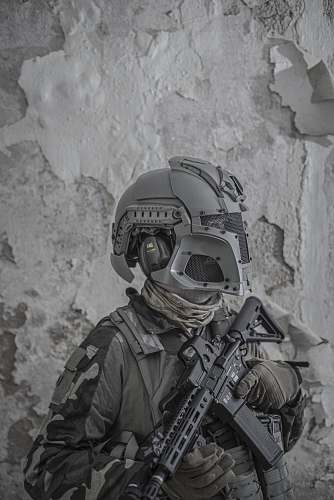 apparel grayscale photography of soldier black-and-white