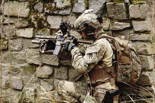 apparel military hiding on wall helmet