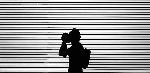 photo person silhouette photography of person wearing bag black-and-white free for commercial use images