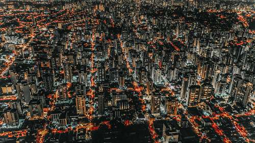 landscape aerial photography of city during nighttime outdoors