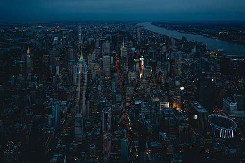 landscape New York City during night outdoors