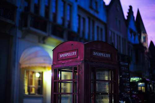 urban red Telephone booth street