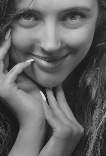 photo black-and-white grayscale photography of woman smiling face free for commercial use images