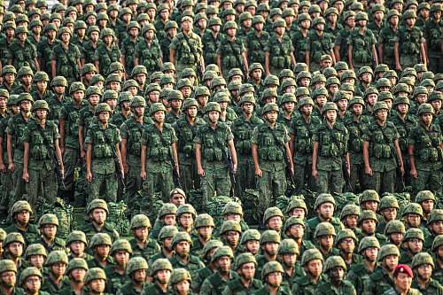 human group of army standing outdoor military