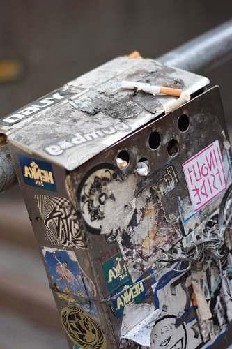 box grey metal box with stickers machine