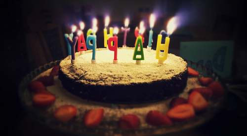 cake round Happy Birthday cake with lighted candles dessert