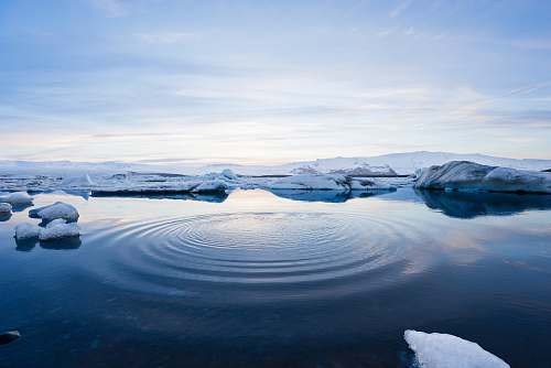 snow body of water between icebergs iceland