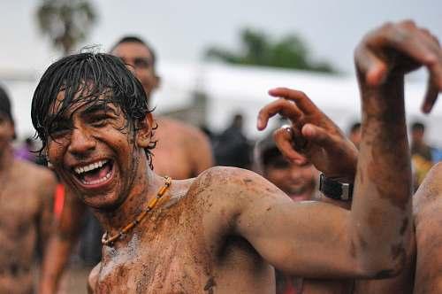 human people playing mud outdoor skin