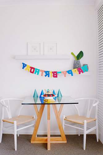 furniture brown and white pub set and happy birthday hanging decor inside room chair