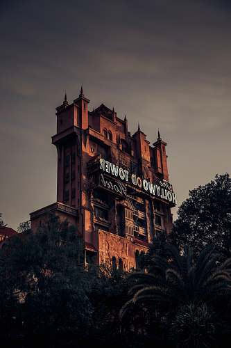 disney architectural photography of The Hollywood Tower Hotel tower