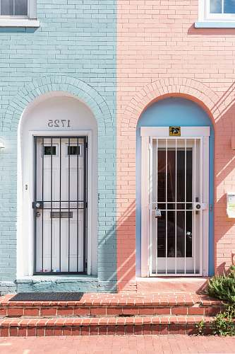 photo pink two white wooden doors with grills pastel free for commercial use images