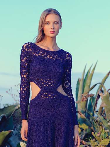 photo clothing woman in purple lace knitted long-sleeved dress during daytime apparel free for commercial use images