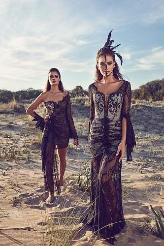clothing women wearing black lace dresses in dessert apparel
