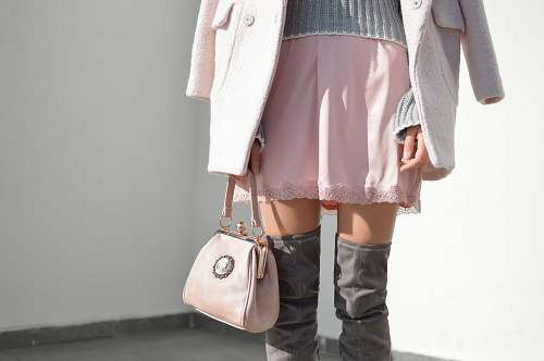 handbag women's pink skirt and gray knee boots outfit bag