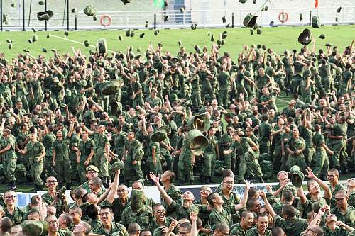 photo person people throwing hats military free for commercial use images