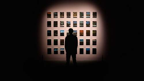 person silhouette of person standing in front of the picture silhouette