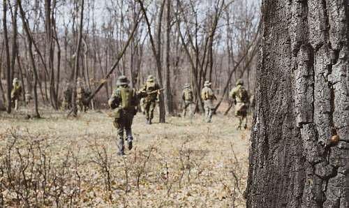 person soldiers walking near trees military