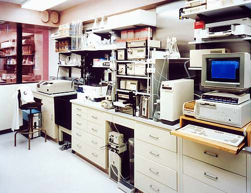 photo clinical laboratory desktop monitor beside computer tower on inside room healthcare free for commercial use images