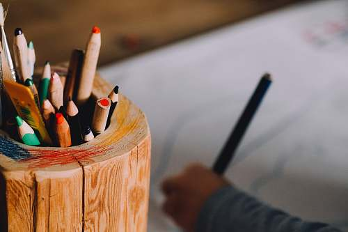 human color pencils in case wood