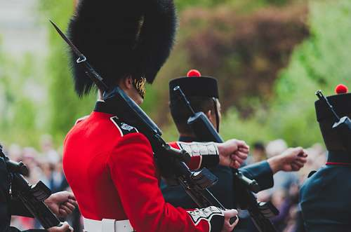 human photography of royal guard marching people