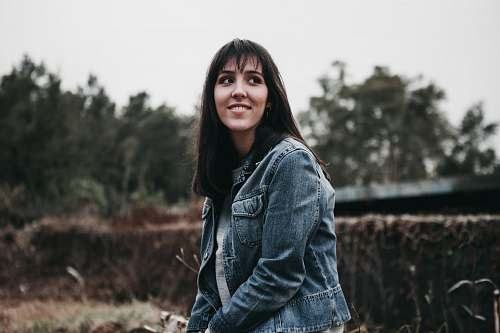 photo people woman wearing blue chambray jacket human free for commercial use images