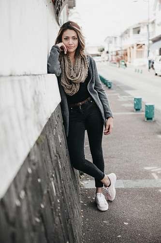 people women's brown infinity scarf human
