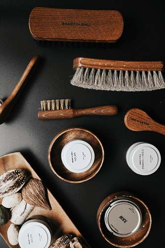 tool brown and gray brush shoe care
