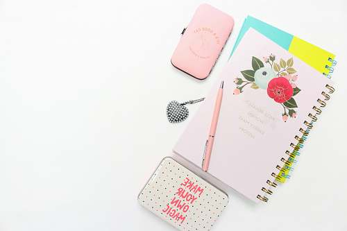 notebook pink notepad with metal cases pen