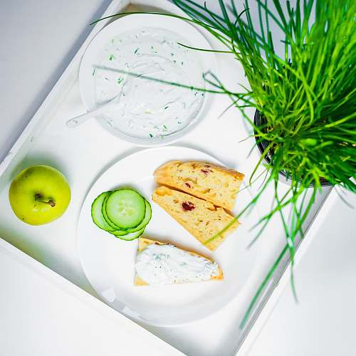 cucumber bread on white plate vegetable