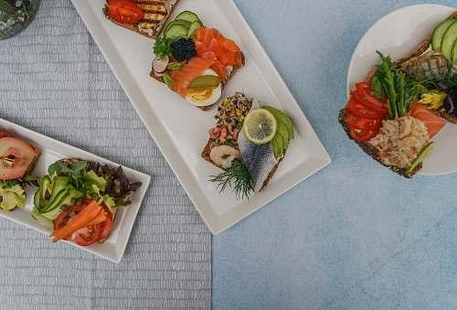 meal sliced foods on plate london