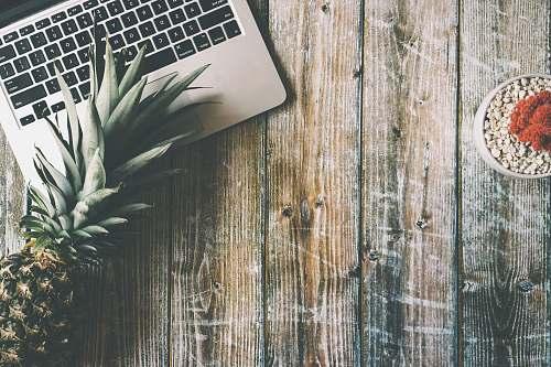 fruit green pineapple beside MacBook Pro pineapple