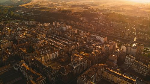 photo aerial photography of city during golden hour free for commercial use images