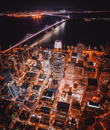 aerial photography of lighted city buildings
