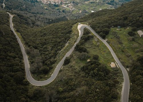aerial photography of road on mountain